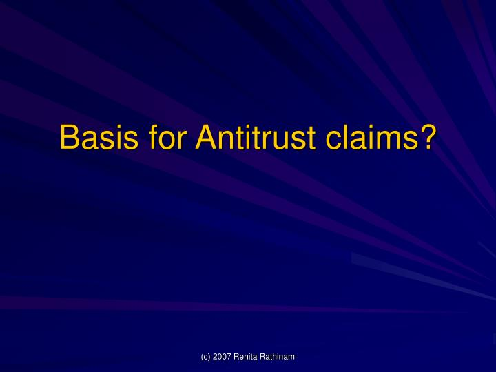 Basis for Antitrust claims?