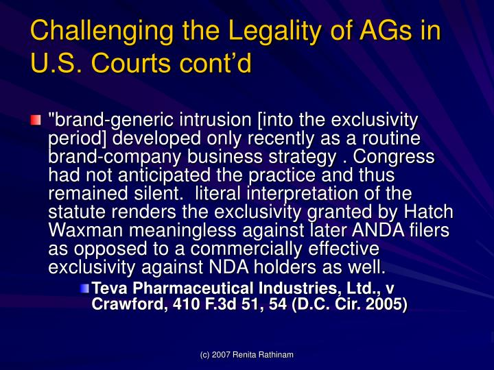 Challenging the Legality of AGs in U.S. Courts cont'd