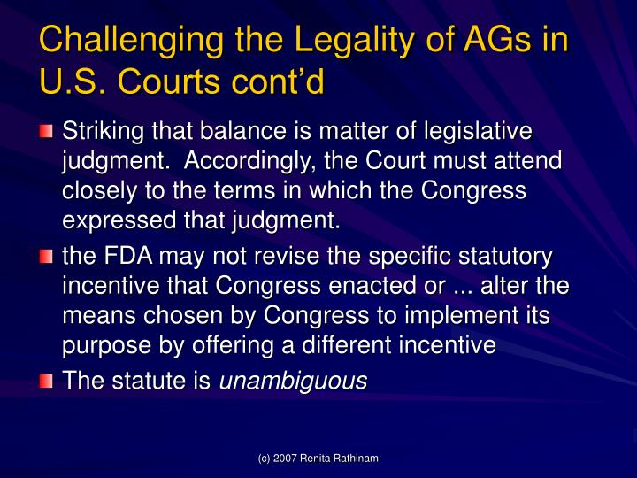 Challenging the Legality of AGs in