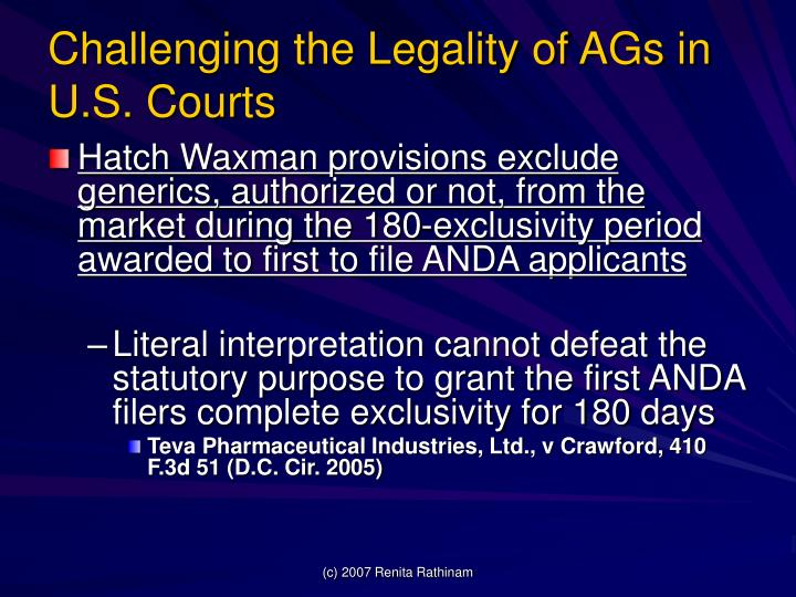 Challenging the Legality of AGs in U.S. Courts