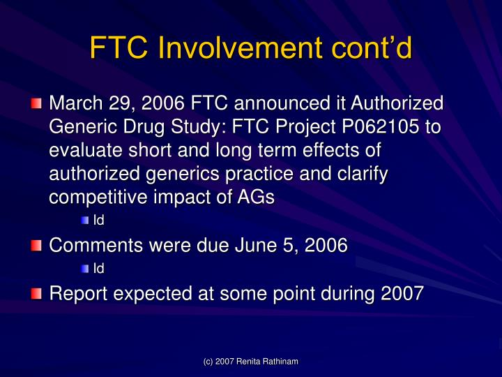 FTC Involvement cont'd