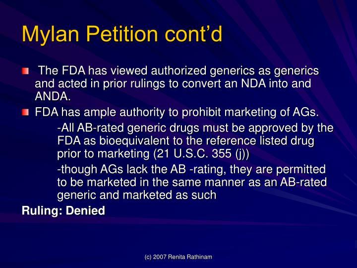Mylan Petition cont'd