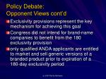 policy debate opponent views cont d