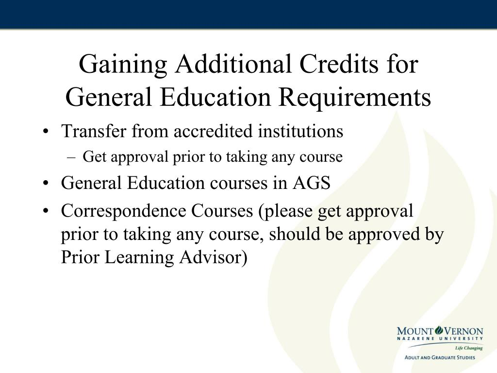 Gaining Additional Credits for General Education Requirements