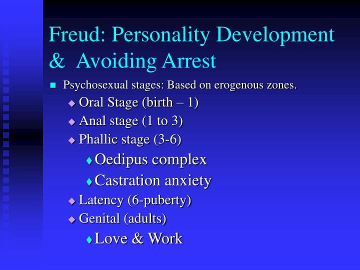 Freud: Personality Development &  Avoiding Arrest