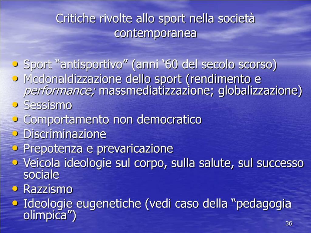 Critiche rivolte allo sport nella società contemporanea