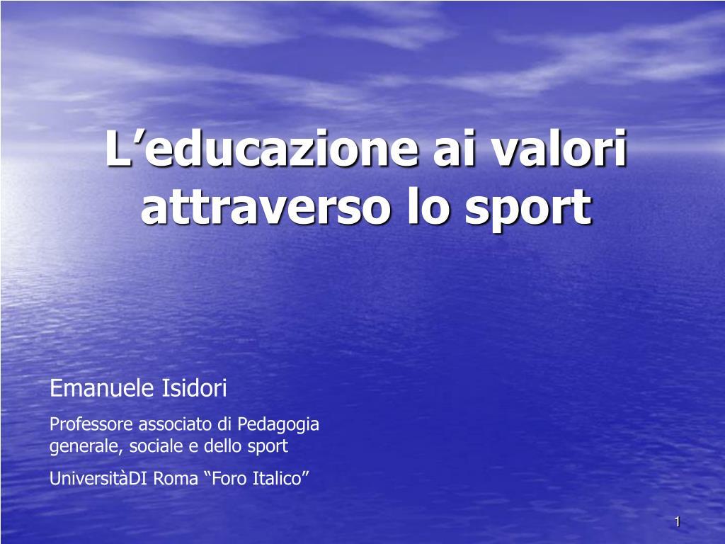 L'educazione ai valori attraverso lo sport