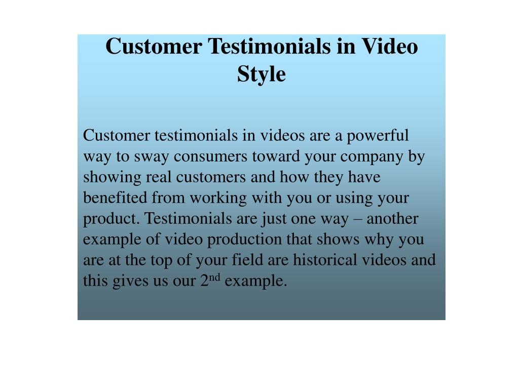Customer Testimonials in Video Style