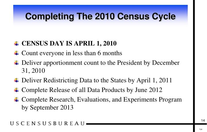Completing The 2010 Census Cycle