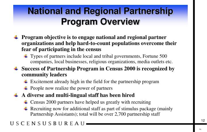 National and Regional Partnership Program Overview