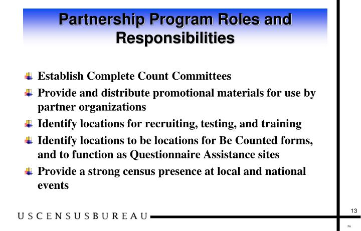 Partnership Program Roles and Responsibilities