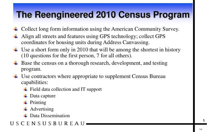 The Reengineered 2010 Census Program