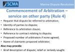 commencement of arbitration service on other party rule 4