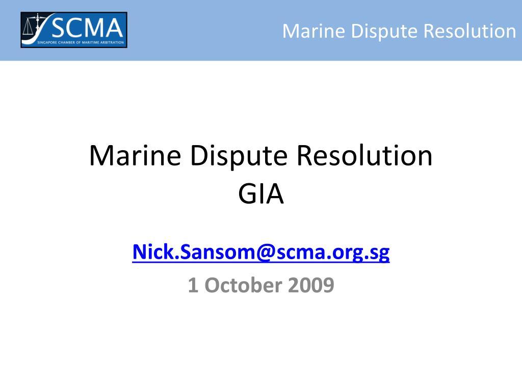 marine dispute resolution gia