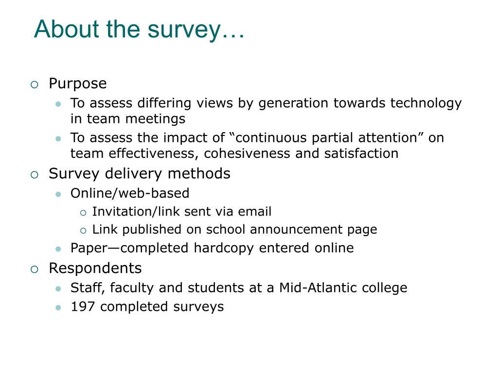 About the survey…
