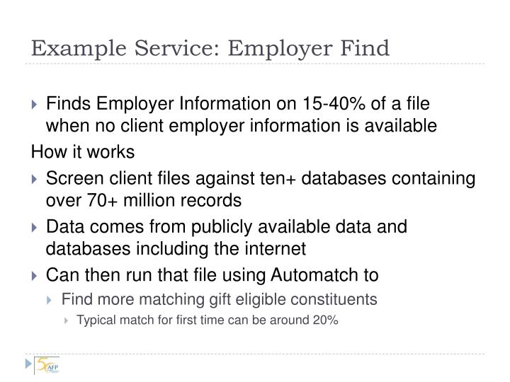 Example Service: Employer Find
