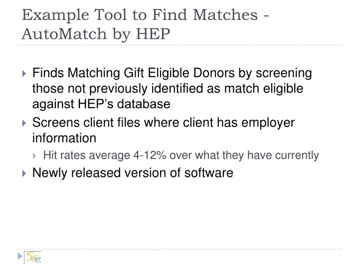 Example Tool to Find Matches - AutoMatch by HEP