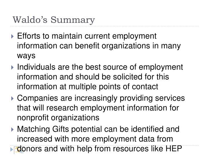 Waldo's Summary