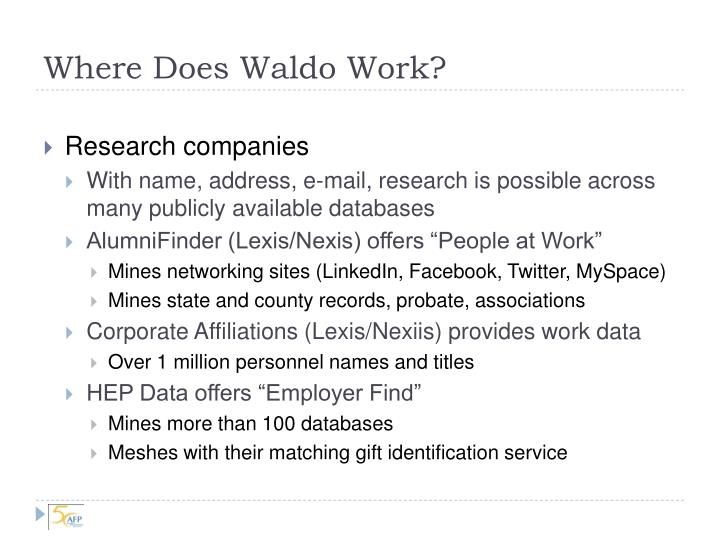 Where Does Waldo Work?