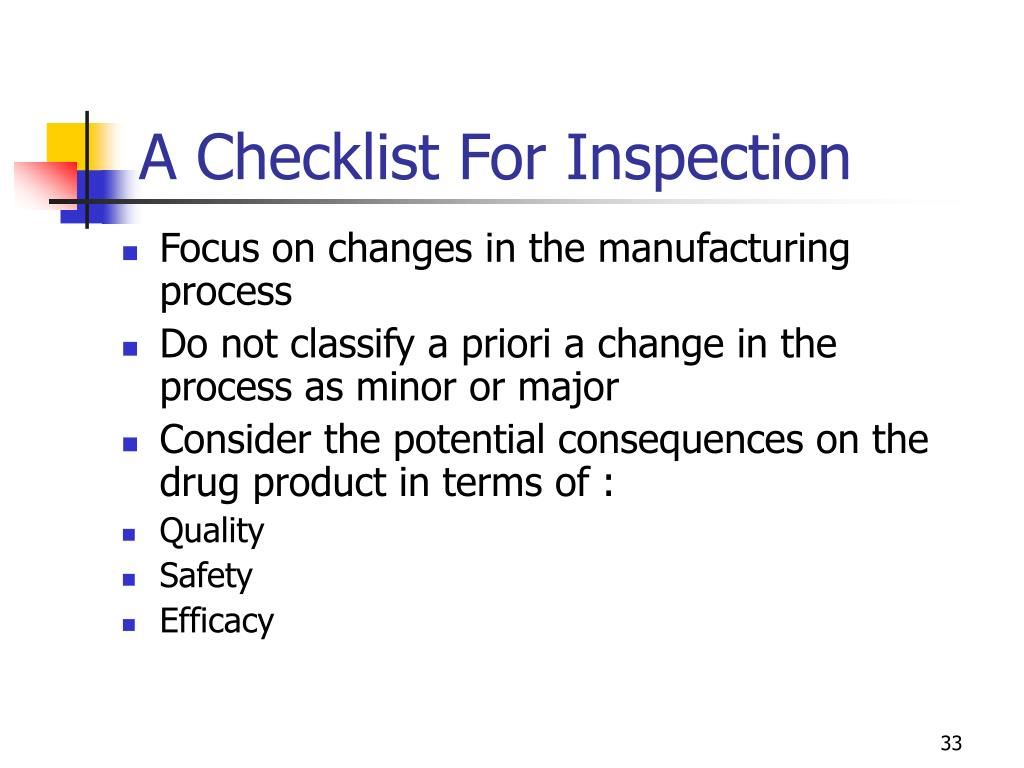 A Checklist For Inspection