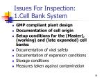 issues for inspection 1 cell bank system