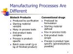 manufacturing processes are different