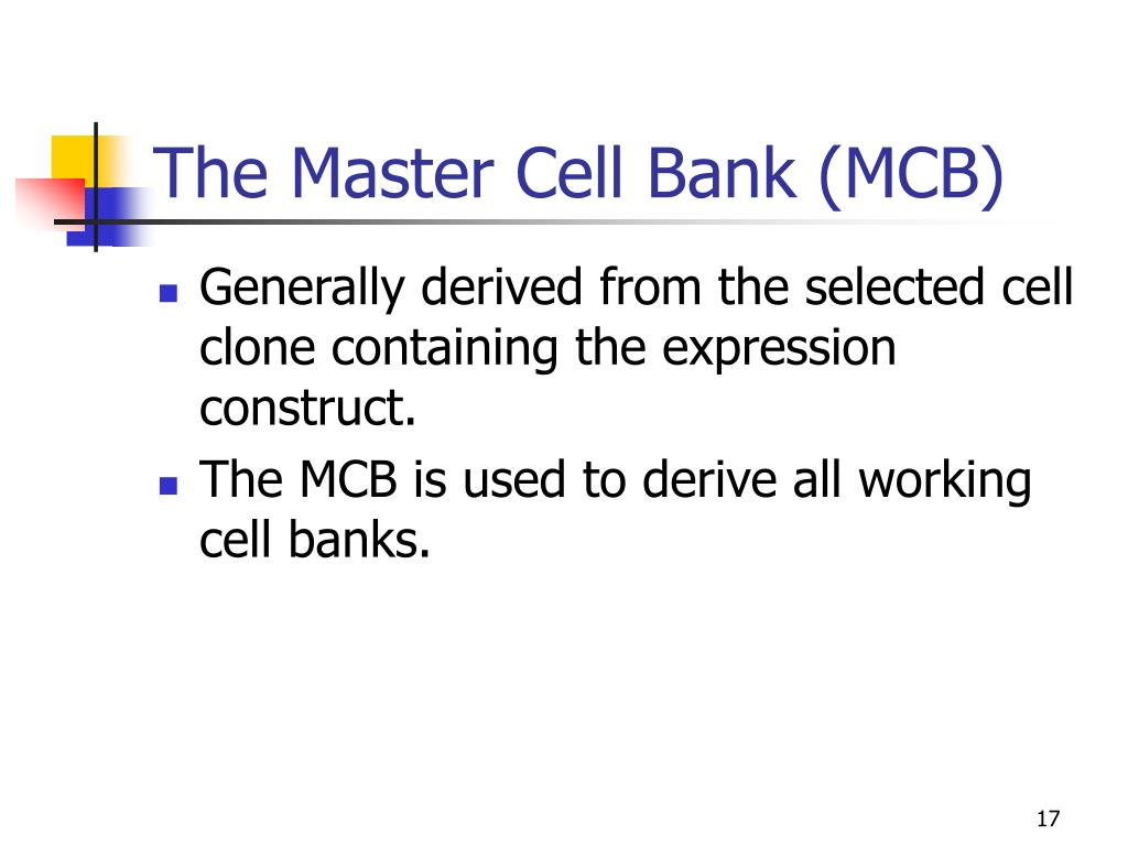 The Master Cell Bank (MCB)
