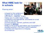 what hmie look for in schools
