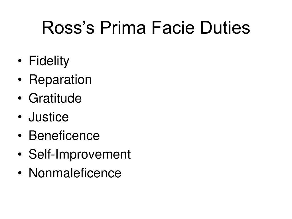 Ross's Prima Facie Duties