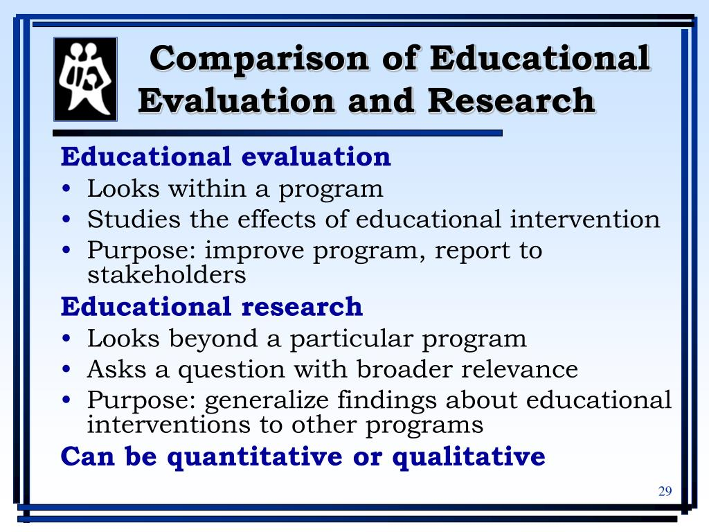 Comparison of Educational Evaluation and Research