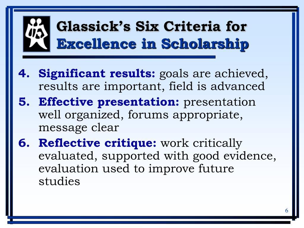 Glassick's Six Criteria for