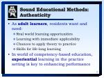sound educational methods authenticity