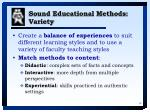 sound educational methods variety
