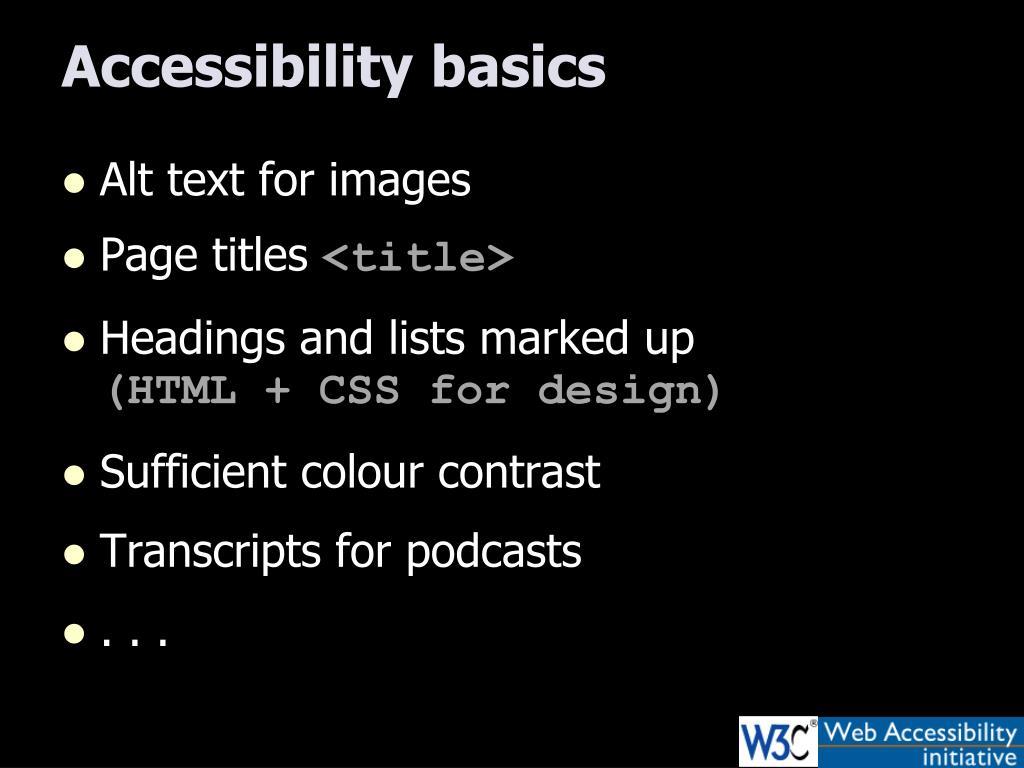 Accessibility basics