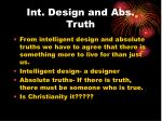 int design and abs truth