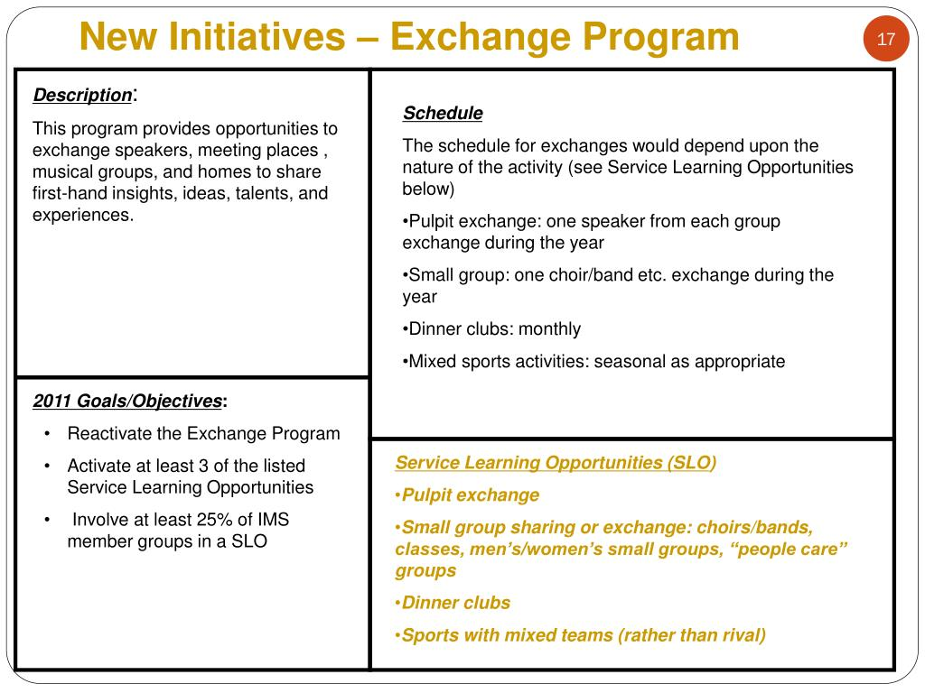New Initiatives – Exchange Program