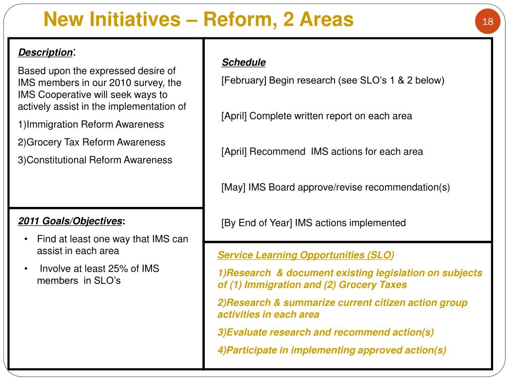 New Initiatives – Reform, 2 Areas
