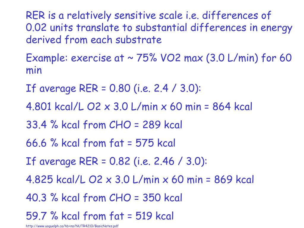RER is a relatively sensitive scale i.e. differences of 0.02 units translate to substantial differences in energy derived from each substrate