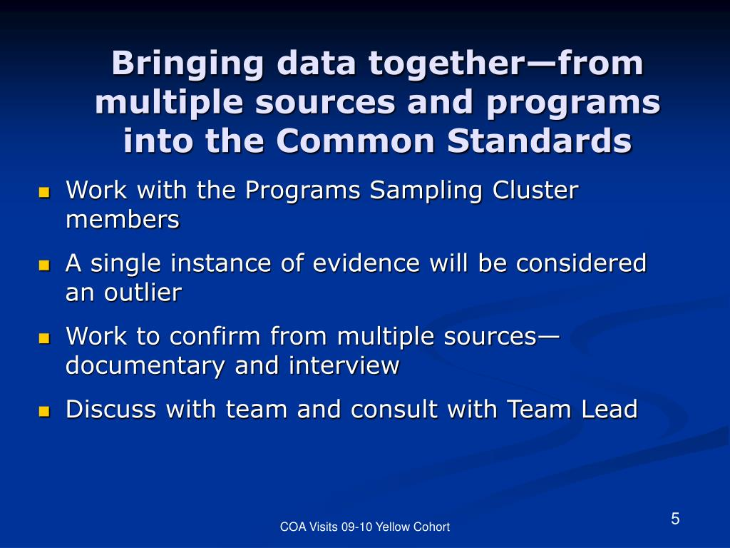Bringing data together—from multiple sources and programs into the Common Standards