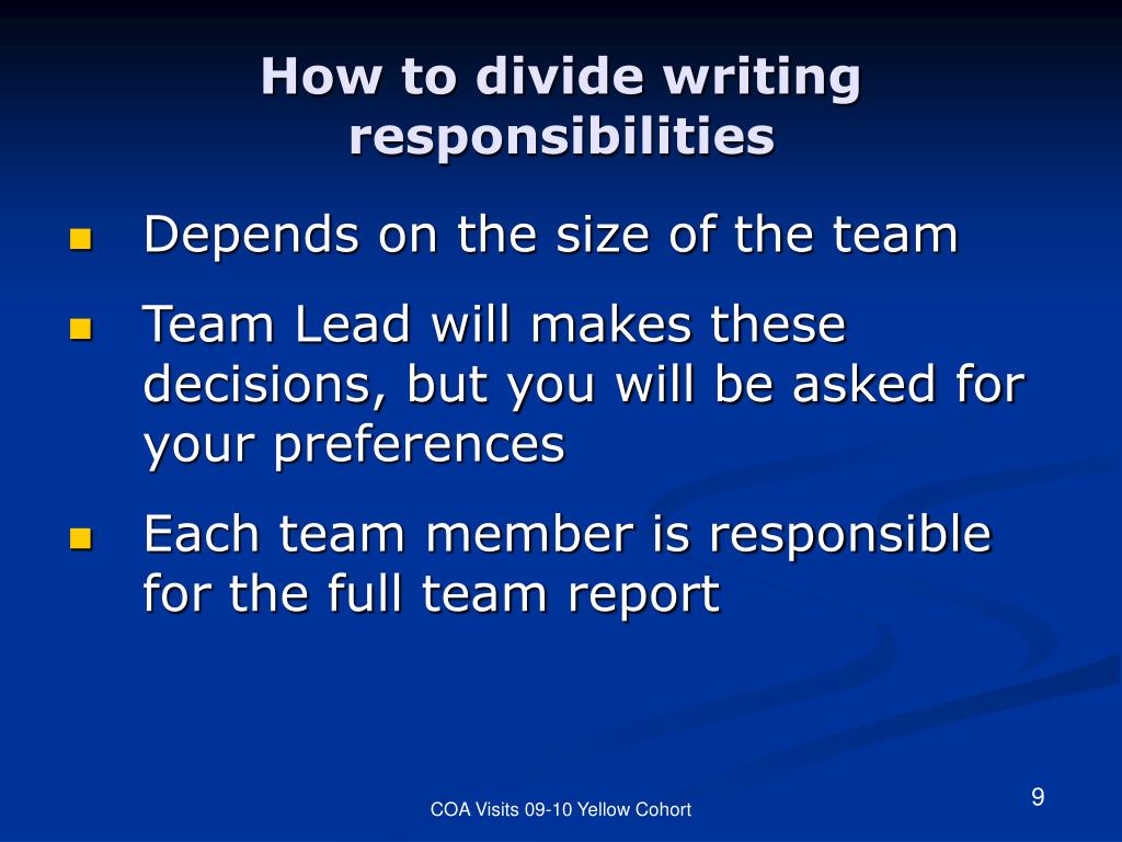 How to divide writing responsibilities