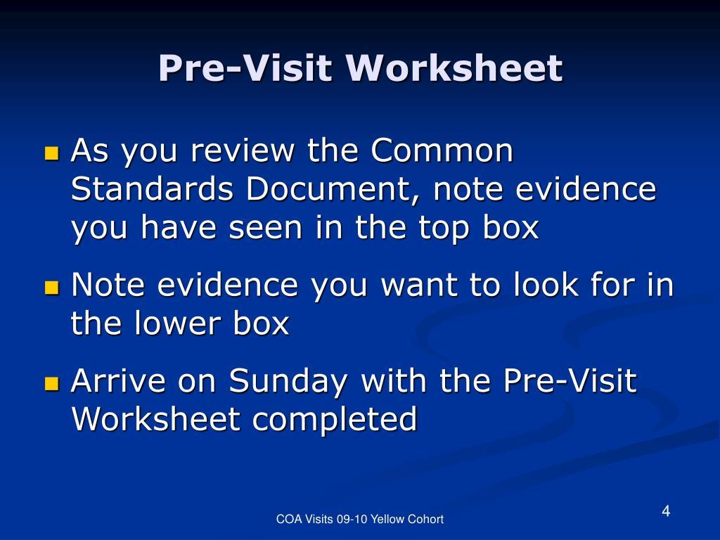 Pre-Visit Worksheet