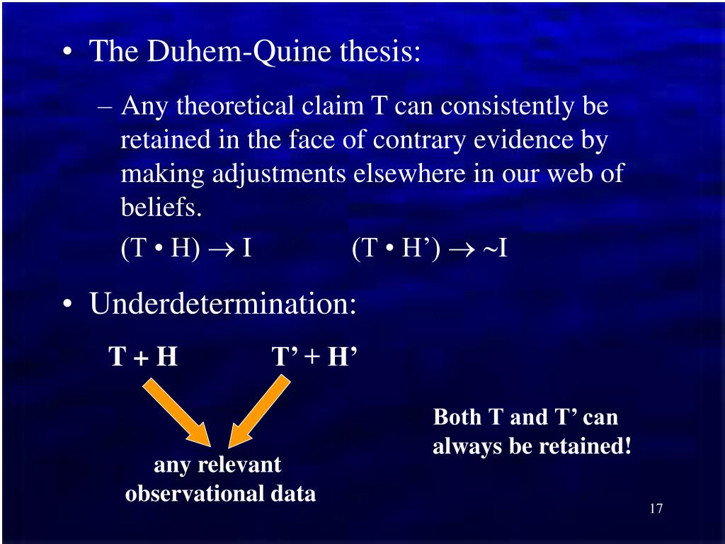 quine duhem thesis popper In part one, i defended popper and his criterion of falsifiability from the duhem-quine thesisi examined popper's position and revealed that not only was popper aware of the duhem-quine problem before most of his critics, but that he also proposed a methodological solution to it.
