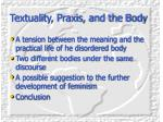 textuality praxis and the body