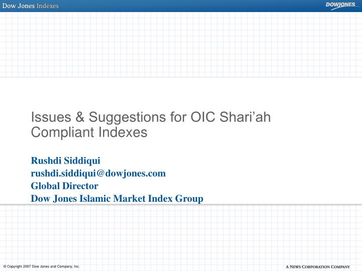 Issues suggestions for oic shari ah compliant indexes