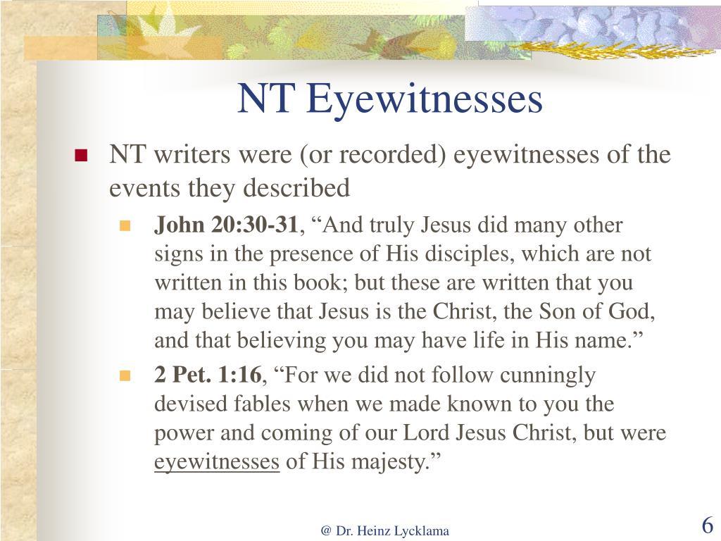NT Eyewitnesses