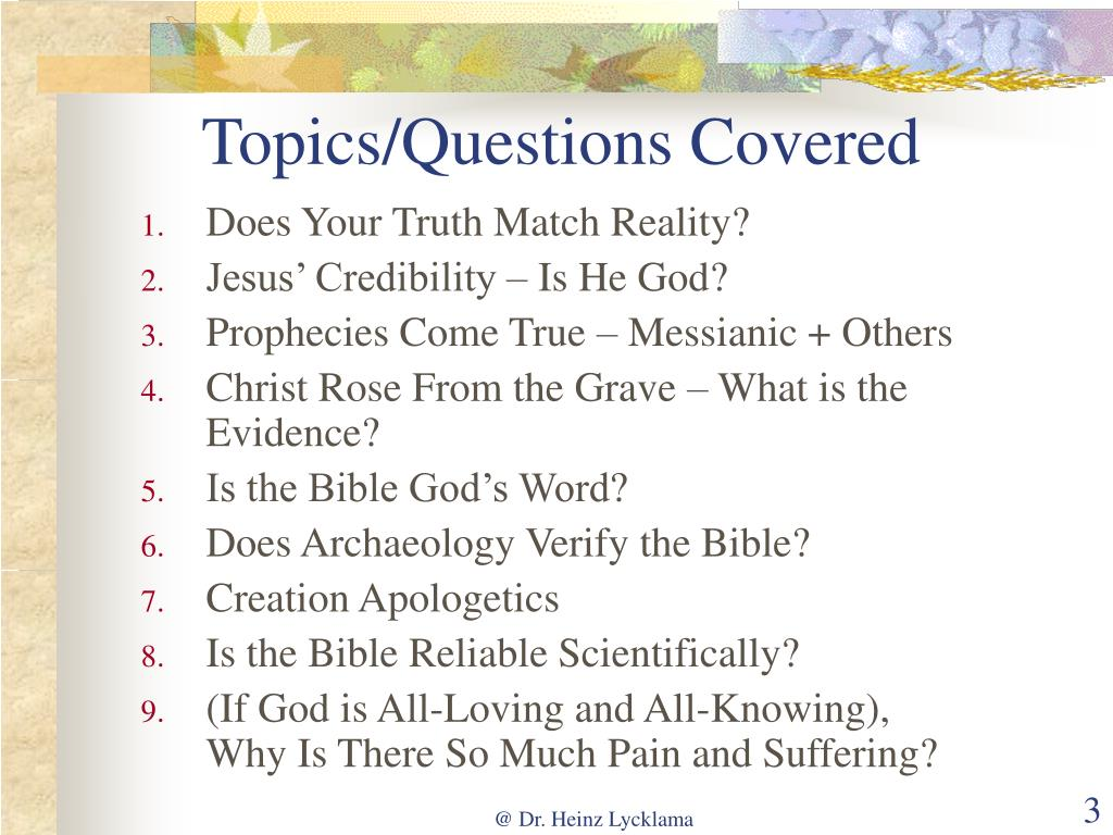 Topics/Questions Covered