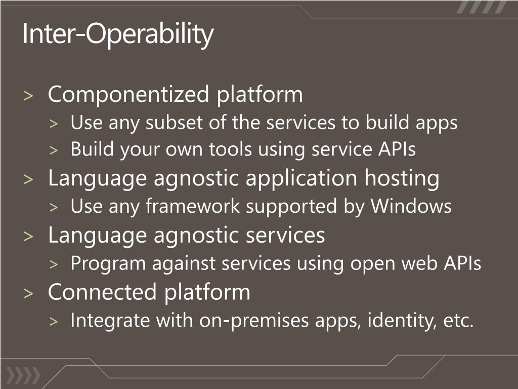 Inter-Operability
