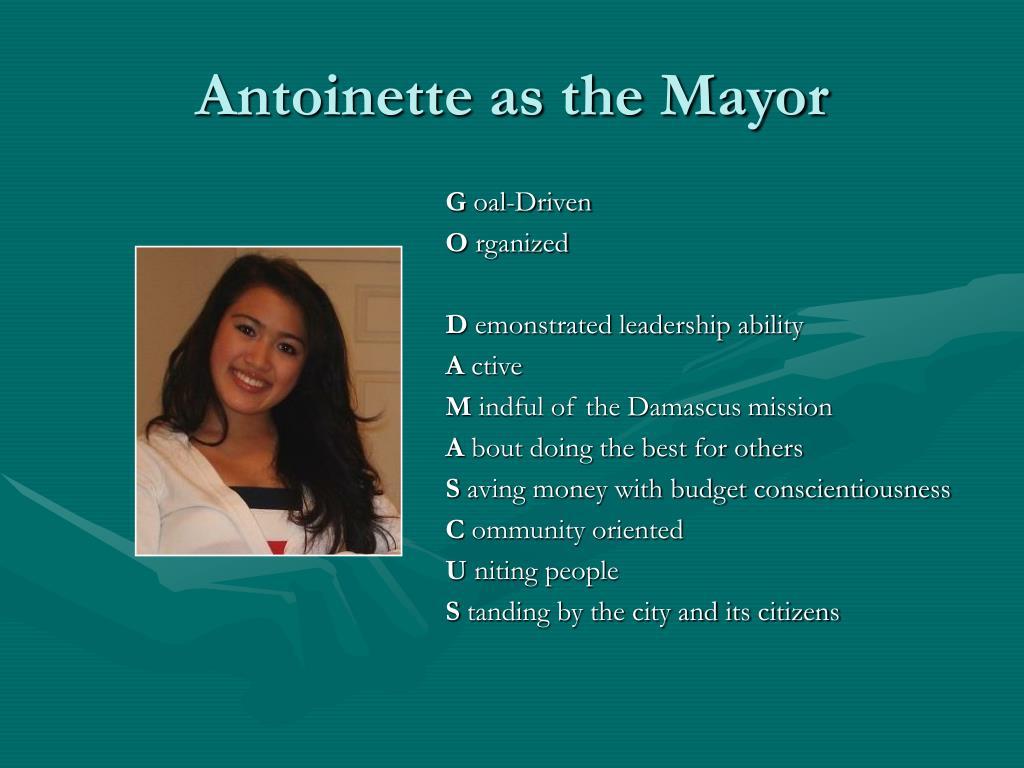 Antoinette as the Mayor