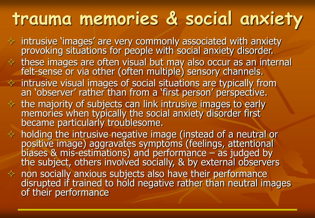 trauma memories & social anxiety