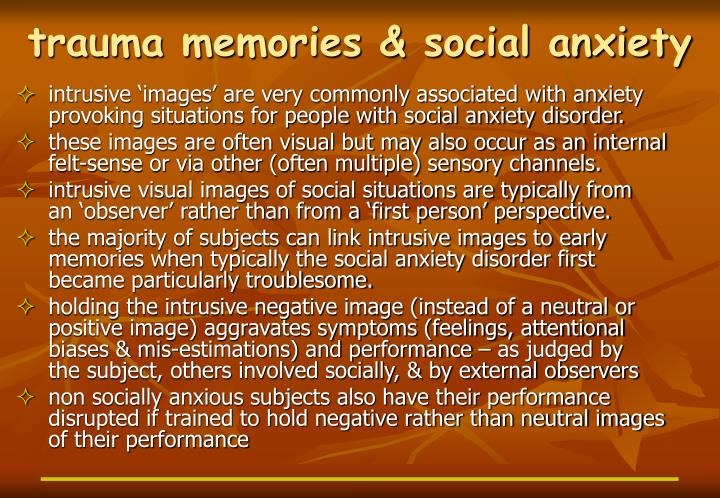 Trauma memories social anxiety